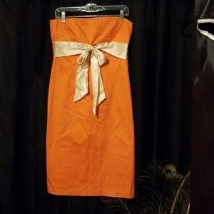 Vintage Lillie Rubin Strapless Orange Dress Size 8